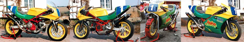 Ducati Zeiventilmotor im 888 Fahrwerk